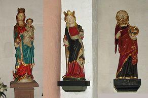 Nideggen – romanische Kirche – drei Heiligenfiguren: Muttergottes mit Kind von 1313, hl. Katharina und Johannes der Täufer, beide 1330