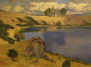 Fritz von Wille - Weinfelder Maar mit Kirche, ohne Datierung