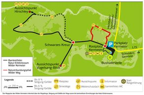 Barrierefreier Natur-Erlebnisraum Wilder Kermeter und Wilder Weg – Karte © Nationalpark Eifel