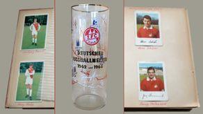Meine FC-Geschichte: Das Kölschglas von 1964 mit den Unterschriften der FC-Spieler. Das Glas war eins der cleveren Anfänge des Merchandisings. Im Hintergrund mein FC-Album.