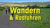 Logo mit Landschaft und Typo Wandern und Radfahren