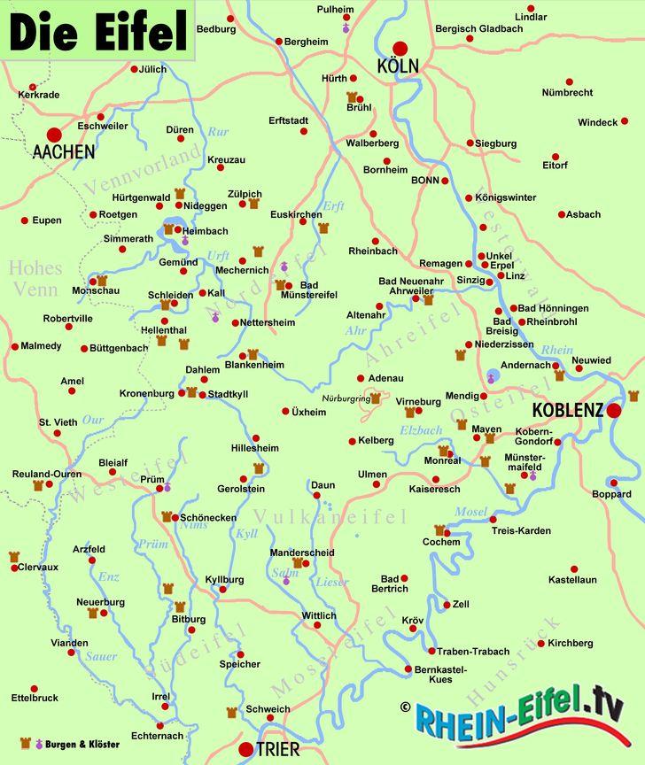 karte von der eifel Eifel Karte – Rhein Eifel.TV