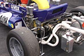 Formel V – Motordetail eines Kaiman, ein Formel-V-Rennwagen aus den 1970er-Jahren