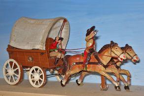 Planwagen der Firma Ley, Ende der 1950er-Jahre - Blech und Massefiguren