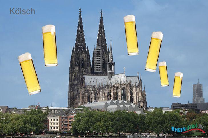 Der Kölner Dom und die schmale Kölsch-Stangen © Foto Rhein-Eifel.TV