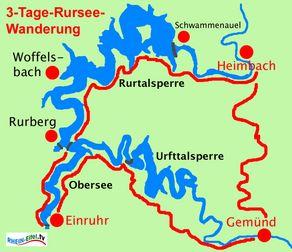 3-Tage-Rundwanderung Rursee - Karte mit Streckenverlauf