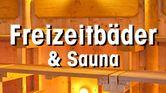 Saunaraum mit Text Freizeitbäder & Sauna