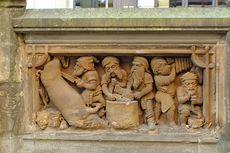 Köln – Heinzelmännchen Brunnen - Relief zum Thema Metzger