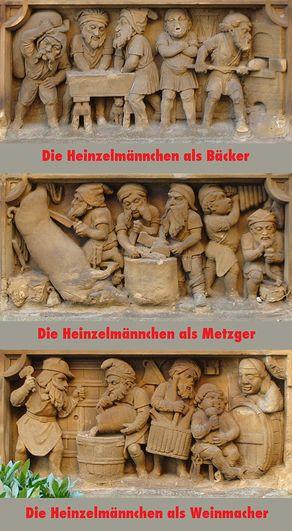 Die verschiedenen Tätigkeiten der Heinzelmännchen auf den Reliefs neben dem Brunnen: Bäcker, Metzger und Weinmacher im Detail