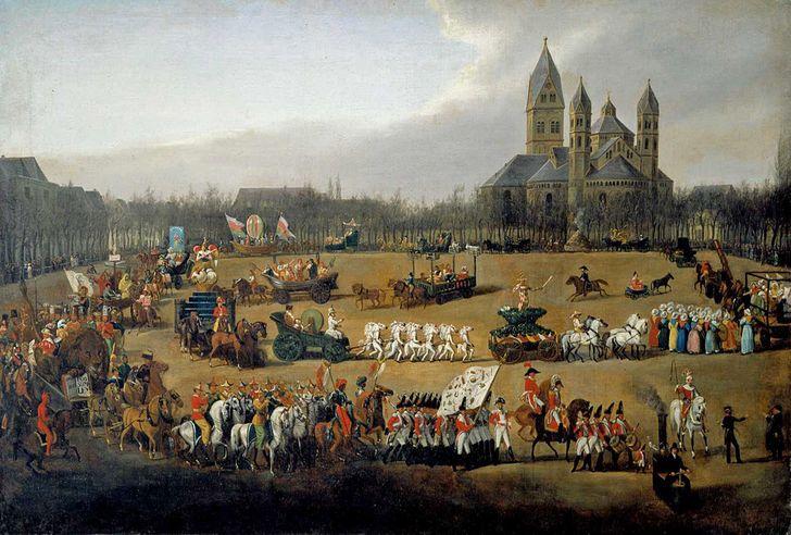 Rosenmontagszug in Köln – Gemälde von Simon Meister (1796-1844), Der Kölner Rosenmontagszug des Jahres 1836 (1836; zugeschrieben), Öl auf Leinwand, © Kölnisches Stadtmuseum