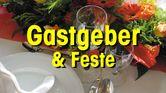 Gedeckter Tisch mit Text Gastgeber & Feste