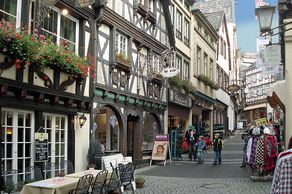 Linz am Rhein – Fußgängerzone mit Geschäften