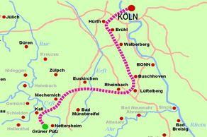 Verlauf der Eifelwasserleitung von Nettersheim nach Köln