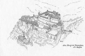 Burg Monschau – Rekonstruktionszeichnung von Wolfgang Braun ©