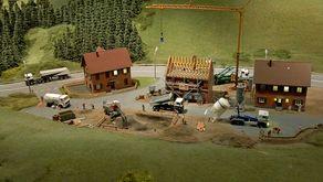 Schwarzwald-Modellbahn Hausach – Detail mit Baustelle zum Thema Hausbau