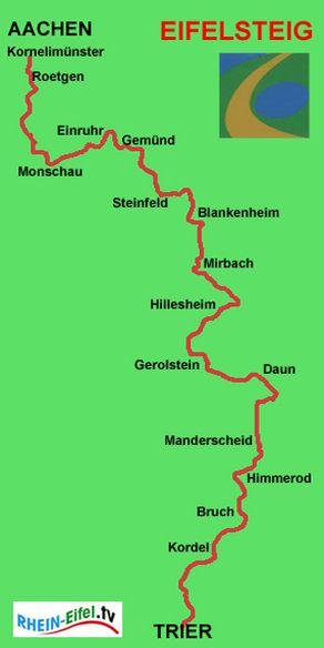 Eifelsteig-Karte – Verlauf der Strecke
