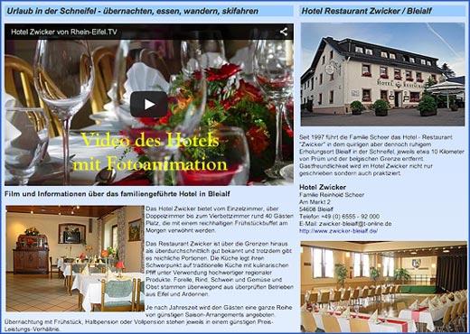 Hotelwerbung – Beispiel Internetauftritt mit Video